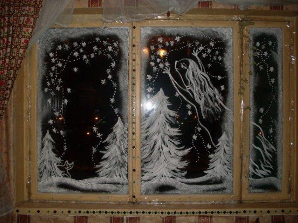 Рисунки к новому году на окнах