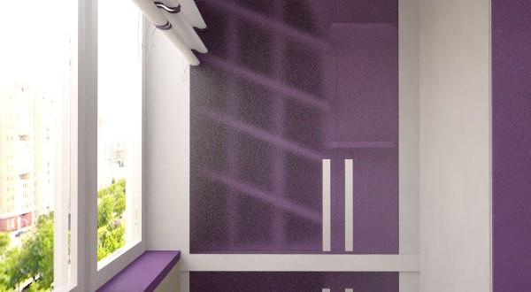 Светло-фиолетовая лоджия, балкон в фиолетовых тонах.