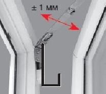 Фурнитура ROTO, регулировка прижима створки в районе верхних ножниц