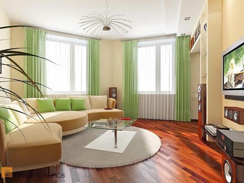 Как выбрать шторы и оформить гостиную с двумя окнами