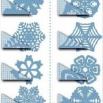 Трафареты бумажных снежинок к Новому Году
