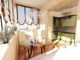 Объединение кухни с балконом