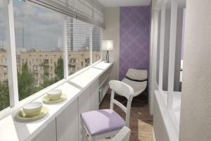 Светло-фиолетовый балкон