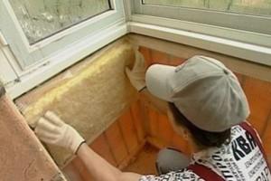 Крепёж минеральной ваты на стенки балкона
