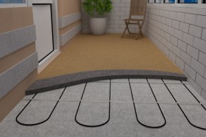 Укладка кабельного обогревателя на пол лоджии