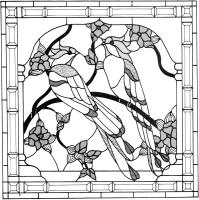 Эскиз витража Тиффани, разложенный на на сборочном столе