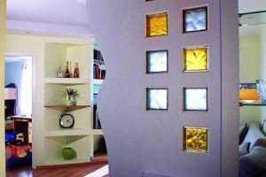 Перегородка вставками из стеклоблоков