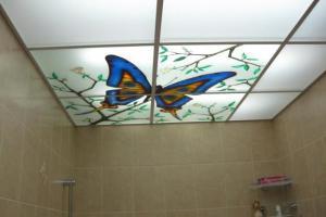 Потолок из стекла в ванной комнате