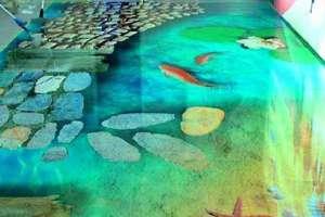 Стеклянный пол с рисунком на маринистические темы
