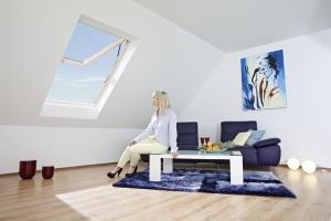 Интерьер с мансардным окном Roto